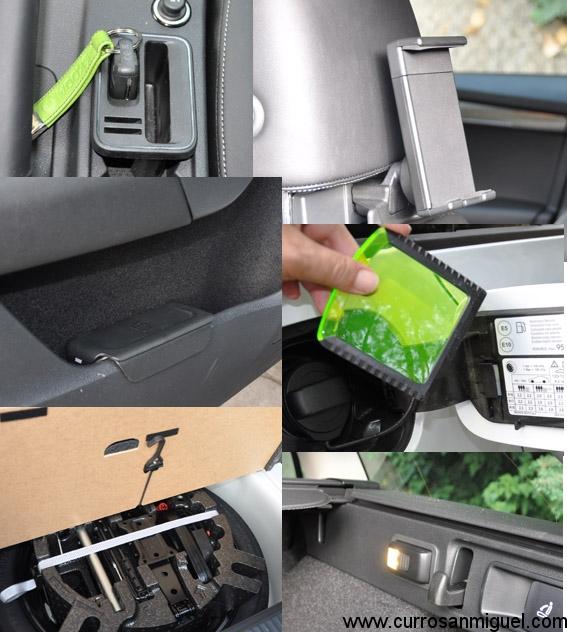 Me encantan estos detalles de Skoda. Hueco para llave y monedas, rascador de hielo, papelera, portamóviles... muchos de ellos agrupados en el Pack Simply Clever.