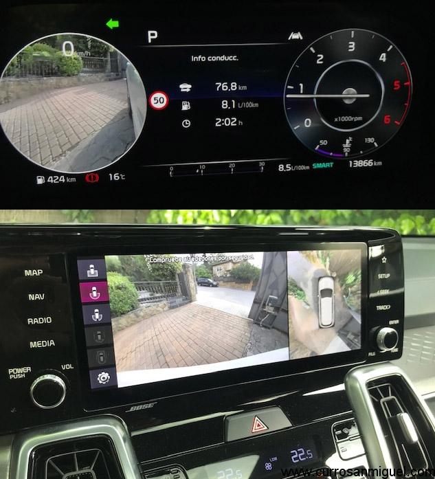 Las cámaras perimetrales son muy útiles dadas las dimensiones del coche. La del ángulo muerto con imagen en el cuadro, una genialidad.
